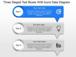 As Three Staged Text Boxes With Icons Data Diagram Powerpoint Template Slide