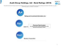 Asahi Group Holdings Ltd Bond Ratings 2018