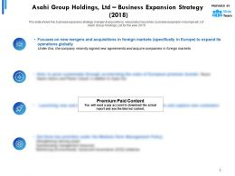 Asahi Group Holdings Ltd Business Expansion Strategy 2018