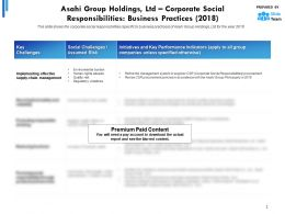 Asahi Group Holdings Ltd Corporate Social Responsibilities Business Practices 2018