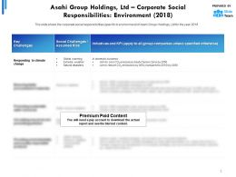 Asahi Group Holdings Ltd Corporate Social Responsibilities Environment 2018