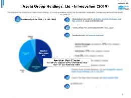 Asahi Group Holdings Ltd Introduction 2019