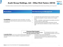 Asahi Group Holdings Ltd Other Risk Factors 2018