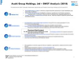 Asahi Group Holdings Ltd SWOT Analysis 2018