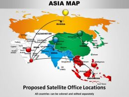 Asia Continents Map Design 1114