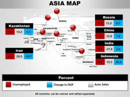 Asia Continents Map Ppt Theme 1114