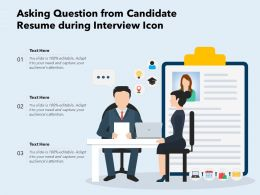 Asking Question From Candidate Resume During Interview Icon