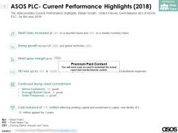 ASOS Plc Current Performance Highlights 2018