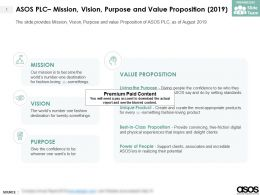 ASOS Plc Mission Vision Purpose And Value Proposition 2019