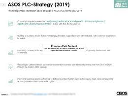 ASOS Plc Strategy 2019