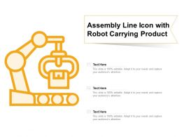 Assembly Line Icon With Robot Carrying Product