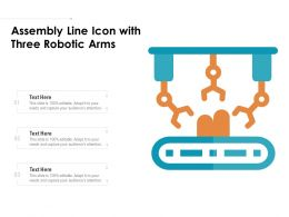 Assembly Line Icon With Three Robotic Arms
