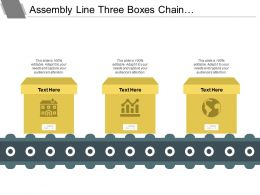 Assembly Line Three Boxes Chain Powerpoint Layout