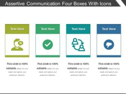 Assertive Communication Four Boxes With Icons