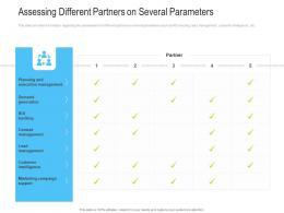 Assessing Different Partners On Several Parameters Channel Vendor Marketing Management Ppt Brochure