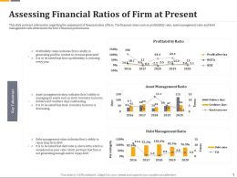 Assessing Financial Ratios Of Firm At Present Ppt File Topics