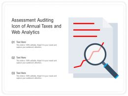 Assessment Auditing Icon Of Annual Taxes And Web Analytics