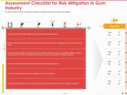 Assessment Checklist For Risk Mitigation In Gym Industry Staff Ppt Powerpoint Presentation Diagram Lists