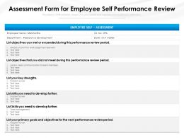 Assessment Form For Employee Self Performance Review