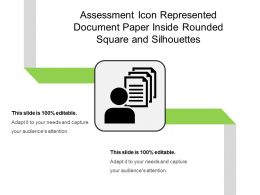 Assessment Icon Represented Document Paper Inside Rounded Square And Silhouettes