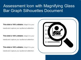 Assessment Icon With Magnifying Glass Bar Graph Silhouettes Document