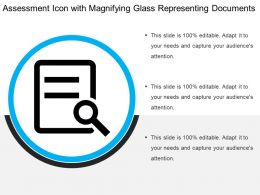Assessment Icon With Magnifying Glass Representing Documents