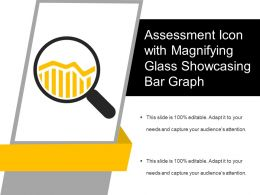Assessment Icon With Magnifying Glass Showcasing Bar Graph