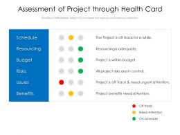 Assessment Of Project Through Health Card