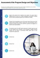 Assessment Of The Program Design And Objectives Presentation Report Infographic PPT PDF Document
