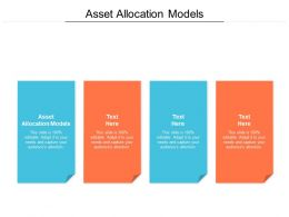 Asset Allocation Models Ppt Powerpoint Presentation Icon Diagrams Cpb