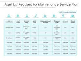 Asset List Required For Maintenance Service Plan