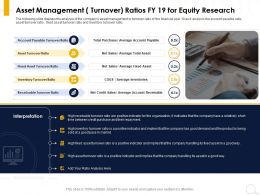 Asset Management Turnover Ratios FY 19 For Equity Research Net Sales Ppt Powerpoint Presentation Pictures Model