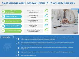 Asset Management Turnover Ratios FY 19 For Equity Research Ppt Summary Grid