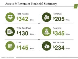 Assets And Revenue Financial Summary Powerpoint Graphics