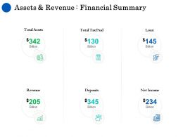 Assets And Revenue Financial Summary Ppt Ideas Icons