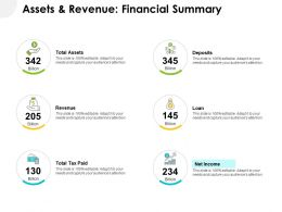 Assets And Revenue Financial Summary Ppt Powerpoint Format Ideas