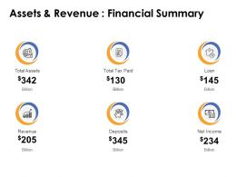 Assets And Revenue Financial Summary Ppt Powerpoint Slides