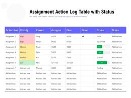 Assignment Action Log Table With Status