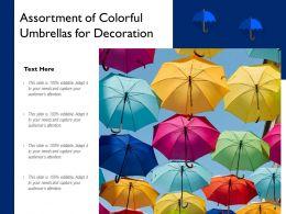 Assortment Of Colorful Umbrellas For Decoration
