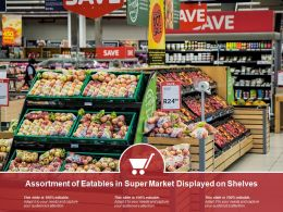 Assortment Of Eatables In Super Market Displayed On Shelves