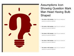Assumptions Icon Showing Question Mark Man Head Having Bulb Shaped