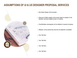 Assumptions Of UI And UX Designer Proposal Services Ppt Powerpoint Presentation Model Styles
