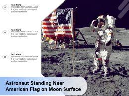 Astronaut Standing Near American Flag On Moon Surface