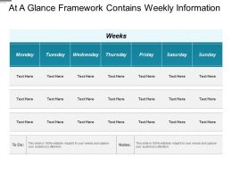 At A Glance Framework Contains Weekly Information