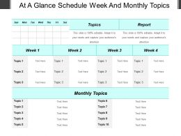 At A Glance Schedule Week And Monthly Topics