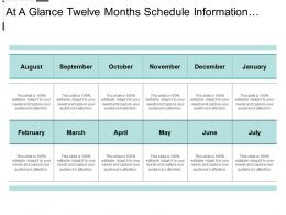 At A Glance Twelve Months Schedule Information Text Boxes