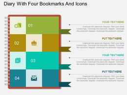 at Diary With Four Bookmarks And Icons Flat Powerpoint Design
