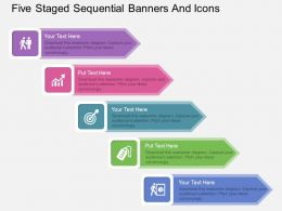 at Five Staged Sequential Banners And Icons Flat Powerpoint Design
