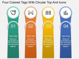 At Four Colored Tags With Circular Top And Icons Powerpoint Template