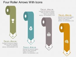 at Four Roller Arrows With Icons Flat Powerpoint Design